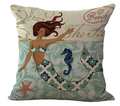 "MAXI Mermaid Collection NEW!-Pillow Cover-Standard: Cotton-Linen-Polyester-Extra-Large 24"" x 24""-3 - Mermaid and Seahorse-Coastal Passion"