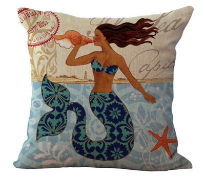 "MAXI Mermaid Collection NEW!-Pillow Cover-Luxury: 100% Cotton-Linen-Large 20"" x 20""-4 - Mermaid with Conch-Coastal Passion"