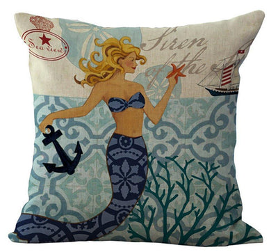 "MAXI Mermaid Collection NEW!-Pillow Cover-Luxury: 100% Cotton-Linen-Large 20"" x 20""-1 - Mermaid with Starfish-Coastal Passion"