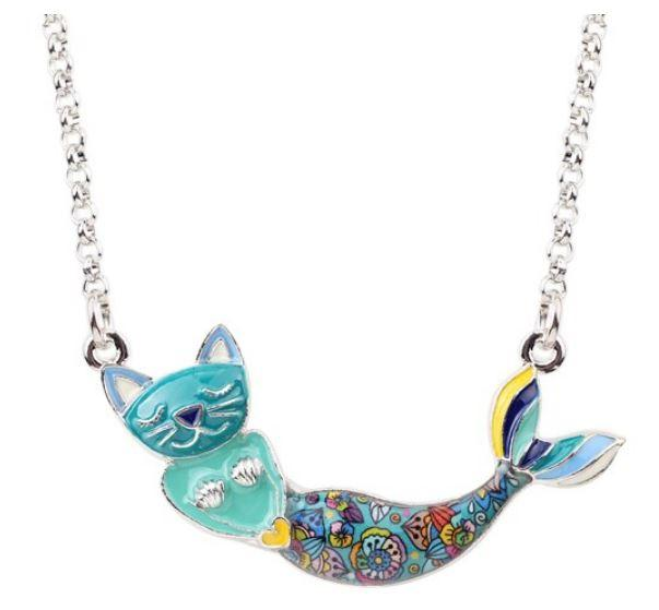Meow Mermaid - Enamel Pendant Necklace-Coastal Passion
