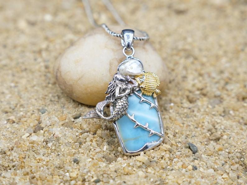 -Mermaid and Fish Beach Pendant - Only One Piece Created-Coastal Passion