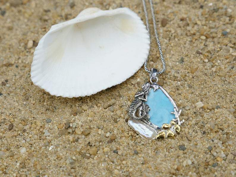 -Mermaid and Pearl Beach Pendant - Only One Piece Created-Coastal Passion