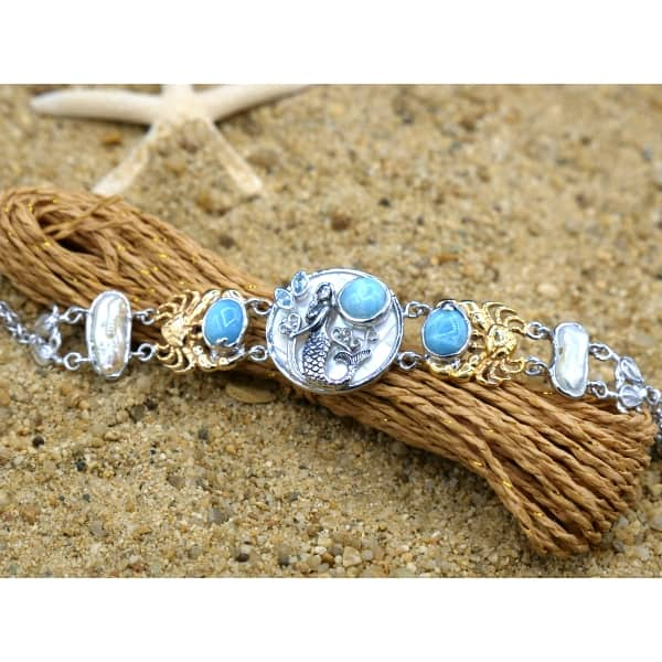 -Mermaid, Crabs and Turtles Bracelet with Larimar and Pearls - Only One Piece Created-Coastal Passion