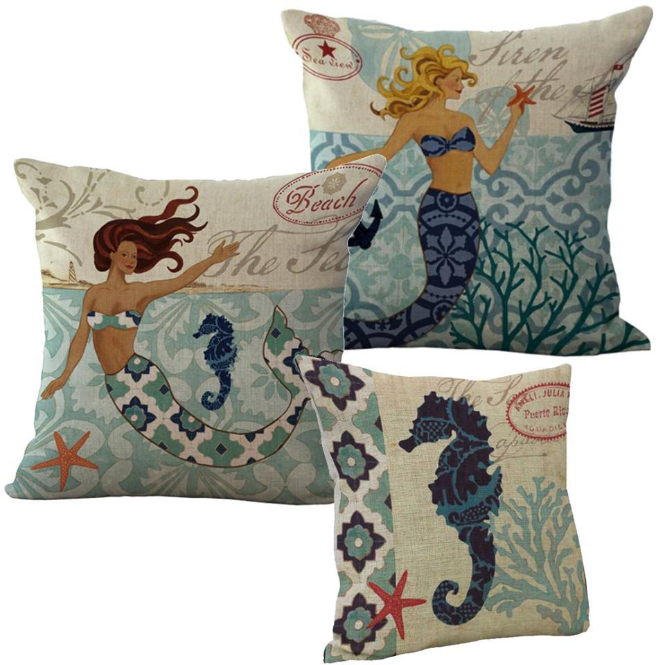 "Mermaid Island Set-Pillow Cover-Standard: Linen-Polyester-20"" x 20""-Coastal Passion"