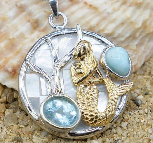 One of a Kind Necklace-Mermaid Pendant Necklace with Larimar, Blue Topaz and Mother of Pearl Mosaic-Coastal Passion