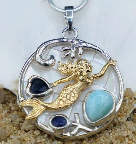 One of a Kind Necklace-Mermaid Pendant Necklace with Larimar, Lapis Lazuli and Mother of Pearl Mosaic-Coastal Passion