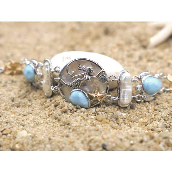 -Mermaid, Sea Turtles and Hibiscus Flowers Bracelet with Larimar, Blue Topaz, Mother of Pearl and Fresh Water Pearls - Only One Piece Created-Coastal Passion