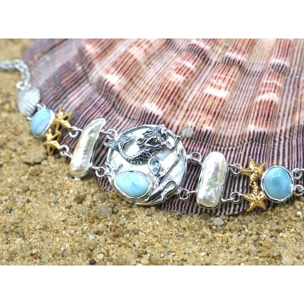 -Mermaid, Starfish and Seashells Bracelet with Larimar and Pearls - Only One Piece Created-Coastal Passion