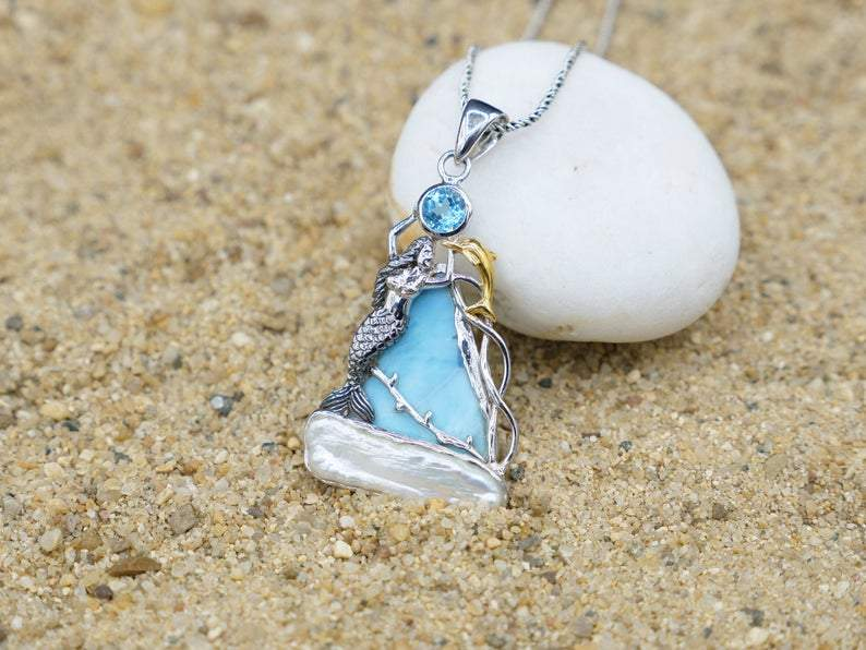 -Mermaid with Dolphin Beach Pendant - Only One Piece Created-Coastal Passion