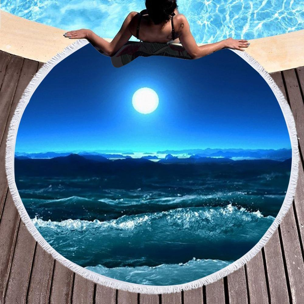 Moonlight Magic Round Beach Towel