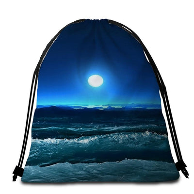 Round Beach Towel-Moonlight Magic Towel + Backpack-Coastal Passion