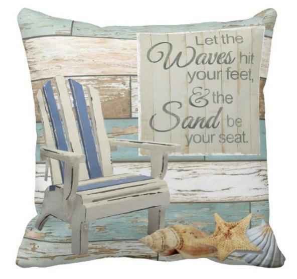 "My Adirondack Pillow Cover-Pillow Cover-17"" X 17""-My Adirondack Waves & Sand-Standard: Linen-Polyester-Coastal Passion"