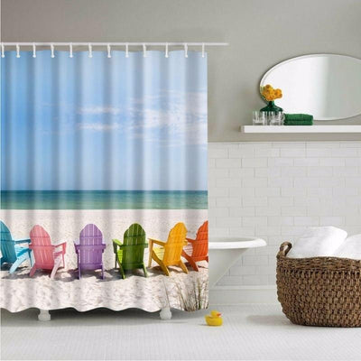 "My Happy Place Shower Curtain-Shower Curtain-59"" L. x 70"" H.-Coastal Passion"