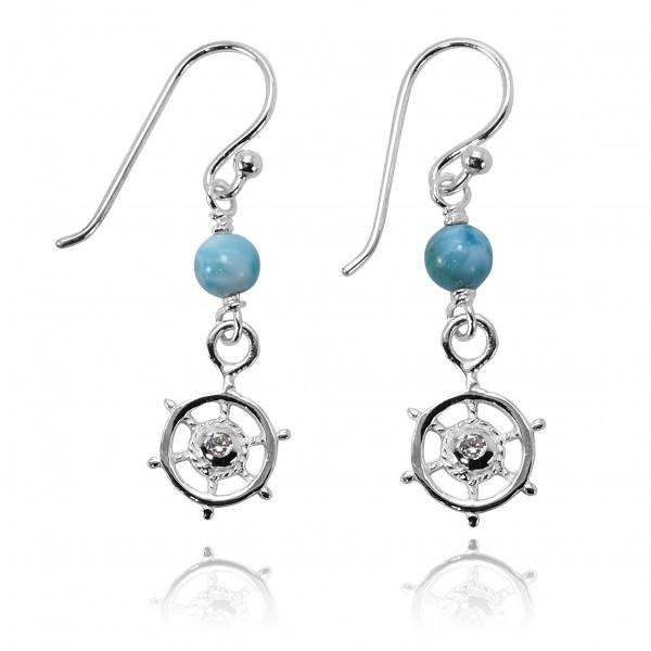 -Nautical Helm Earrings with Larimar-Coastal Passion