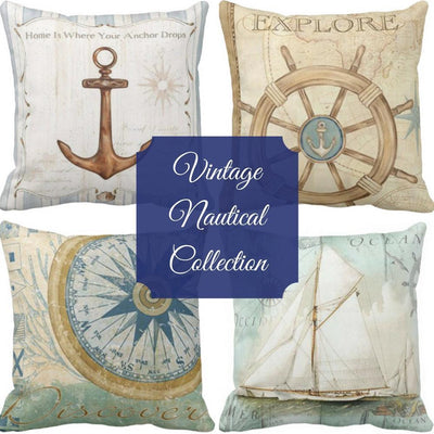 Nautical Vintage Series-Pillow Cover-Coastal Passion