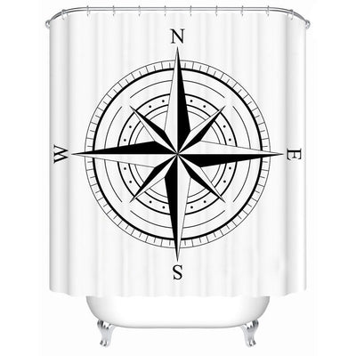 "Nautical Wind Rose Shower Curtain-Shower Curtain-59"" L. x 70"" H.-Coastal Passion"