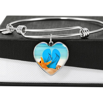 New Flip Flops on the Beach Heart Bangle Bracelet-Jewelry-Coastal Passion