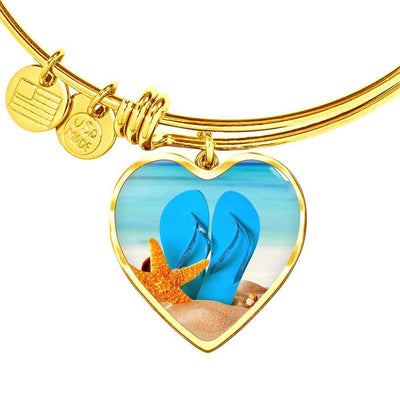 New Flip Flops on the Beach Heart Bangle Bracelet-Jewelry-Heart Pendant Gold Bangle-Coastal Passion