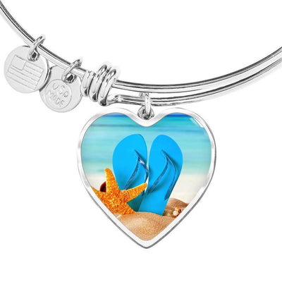 New Flip Flops on the Beach Heart Bangle Bracelet-Jewelry-Heart Pendant Silver Bangle-Coastal Passion