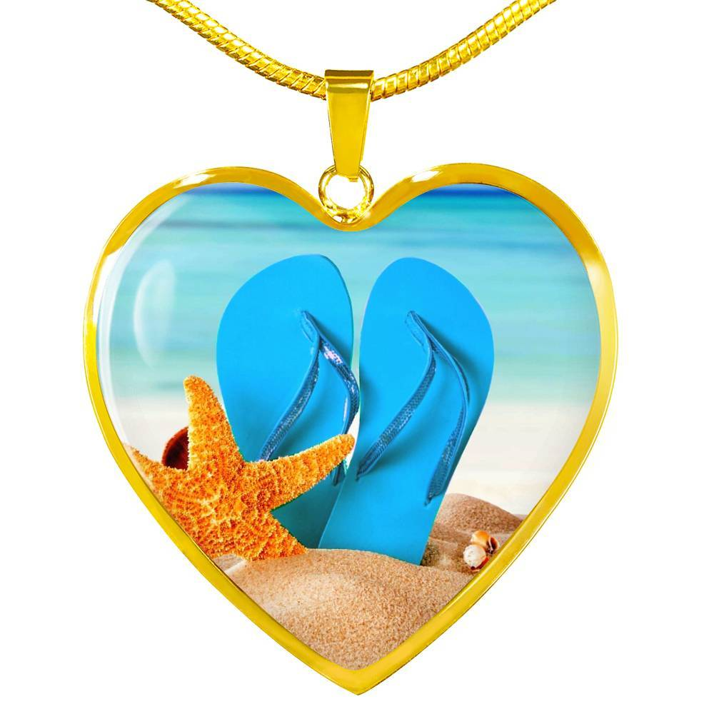 New Flip Flops On The Beach - Heart Pendant Gold Necklace