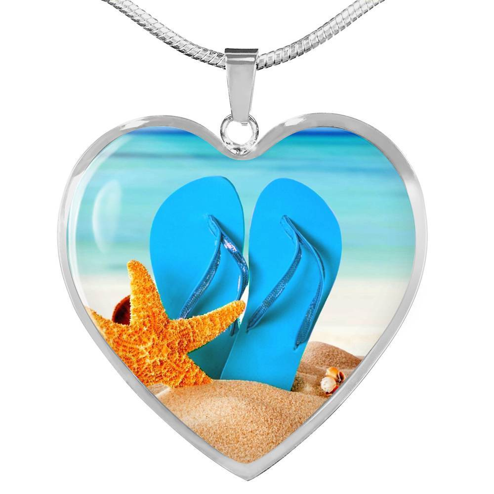 New Flip Flops on the Beach Heart Necklace-Jewelry-Luxury Necklace (Silver)-No-Coastal Passion