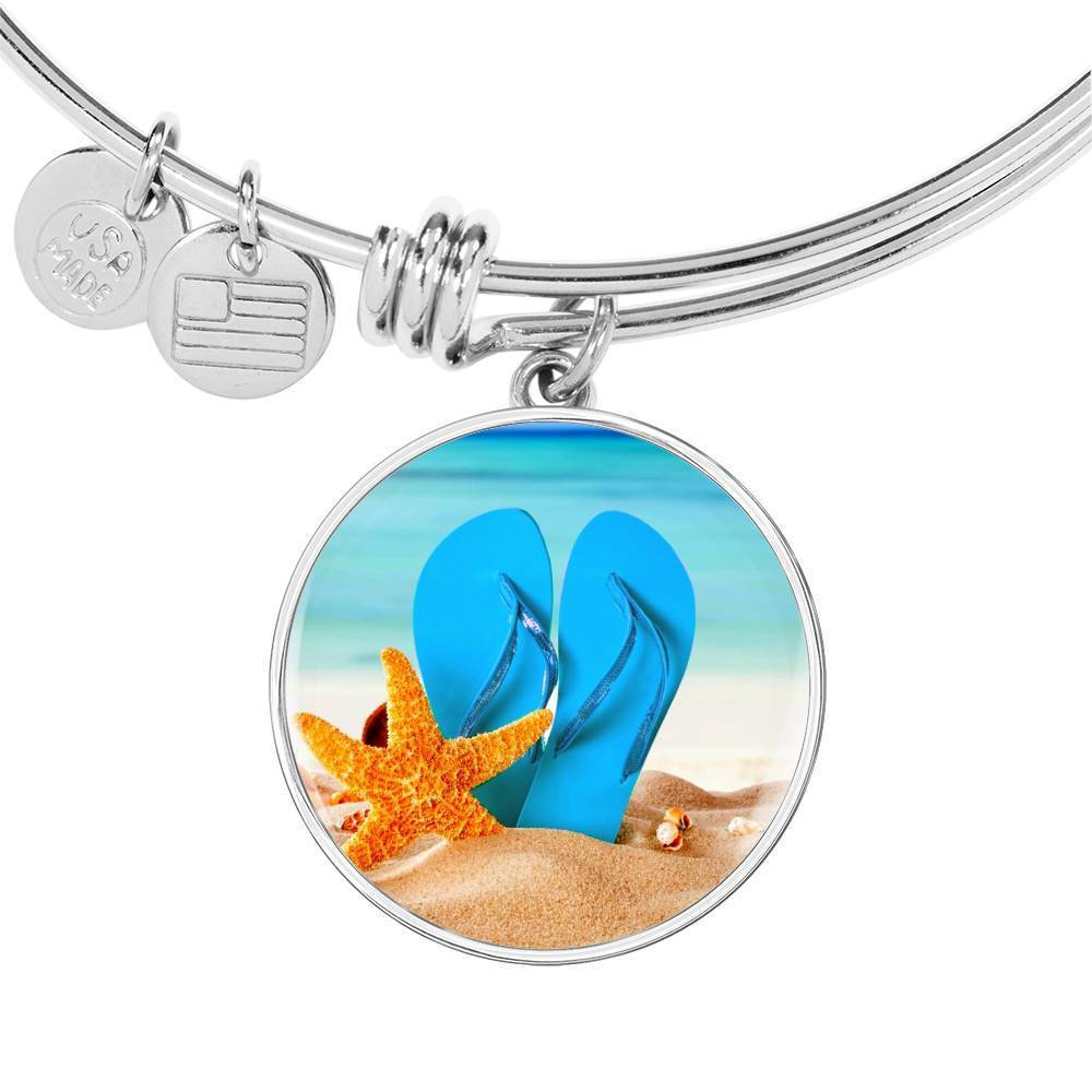 New Flip Flops on the Beach - Round Pendant Bangle Bracelet