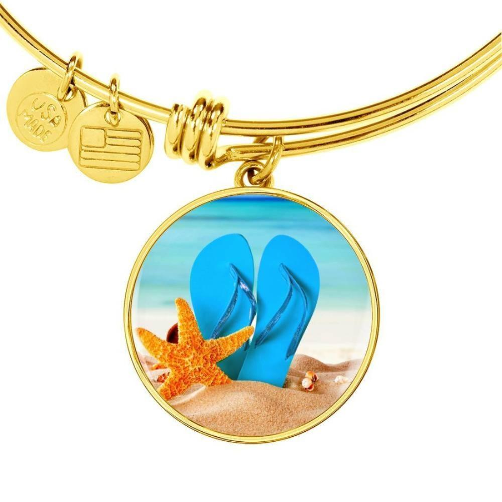 Jewelry-New Flip Flops On The Beach - Round Pendant Gold Bangle Bracelet-Coastal Passion