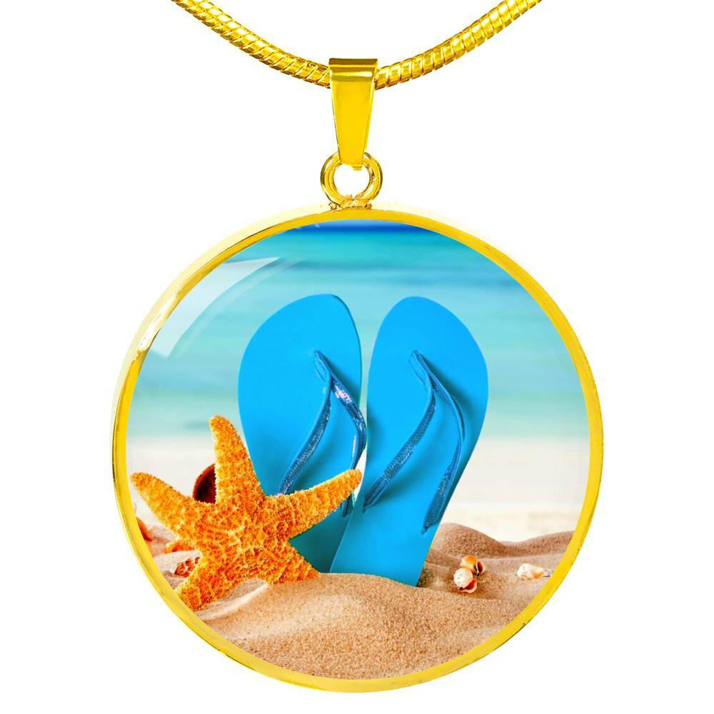 Jewelry-New Flip Flops On The Beach - Round Pendant Gold Necklace-Coastal Passion