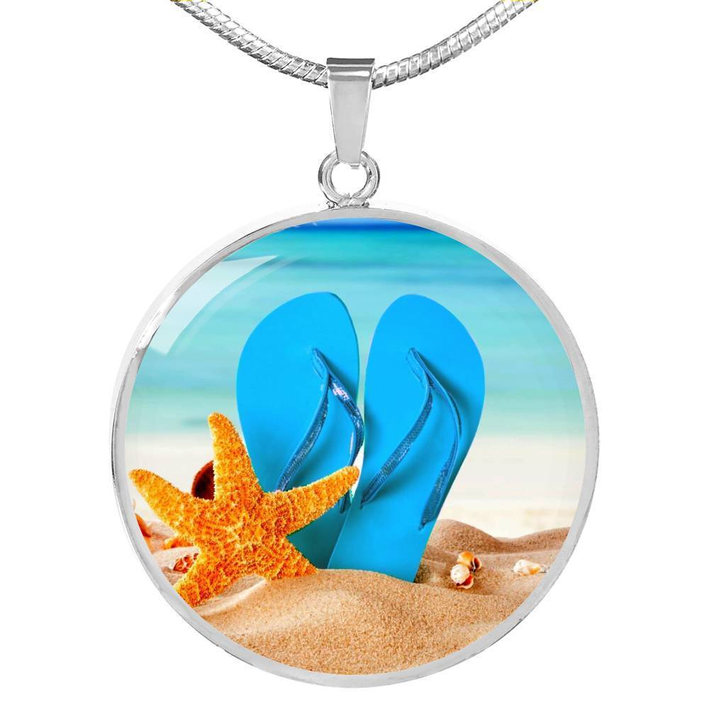 New Flip Flops on the Beach - Round Pendant Necklace