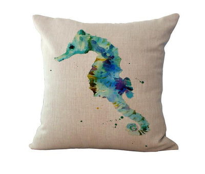 Ocean Art Collection-Pillow Cover-Sea Horse-Coastal Passion