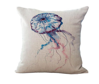 Ocean Art Collection-Pillow Cover-Blue Jellyfish-Coastal Passion