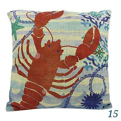 Ocean Mermaid Double Sided Pillow Covers-Pillow Cover-15 Lobster-9 Jellyfish-Coastal Passion