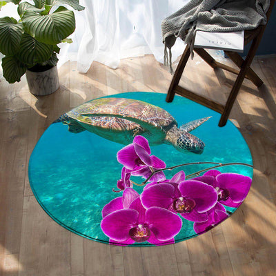 -Ocean Orchids Round Area Rug-Coastal Passion