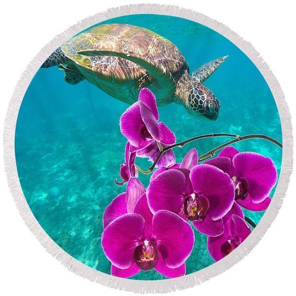 Ocean Orchids Round Beach Towel