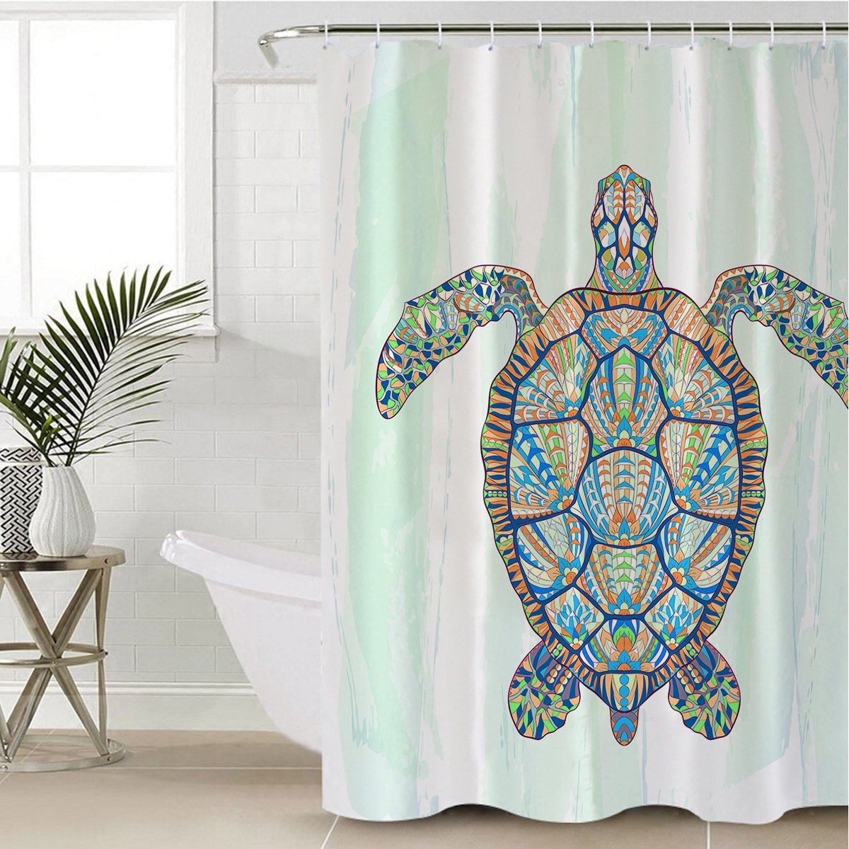 Ocean Turtle Shower Curtain-Coastal Passion