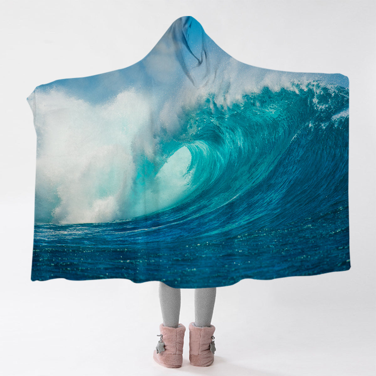 Ocean Wave Cozy Hooded Blanket