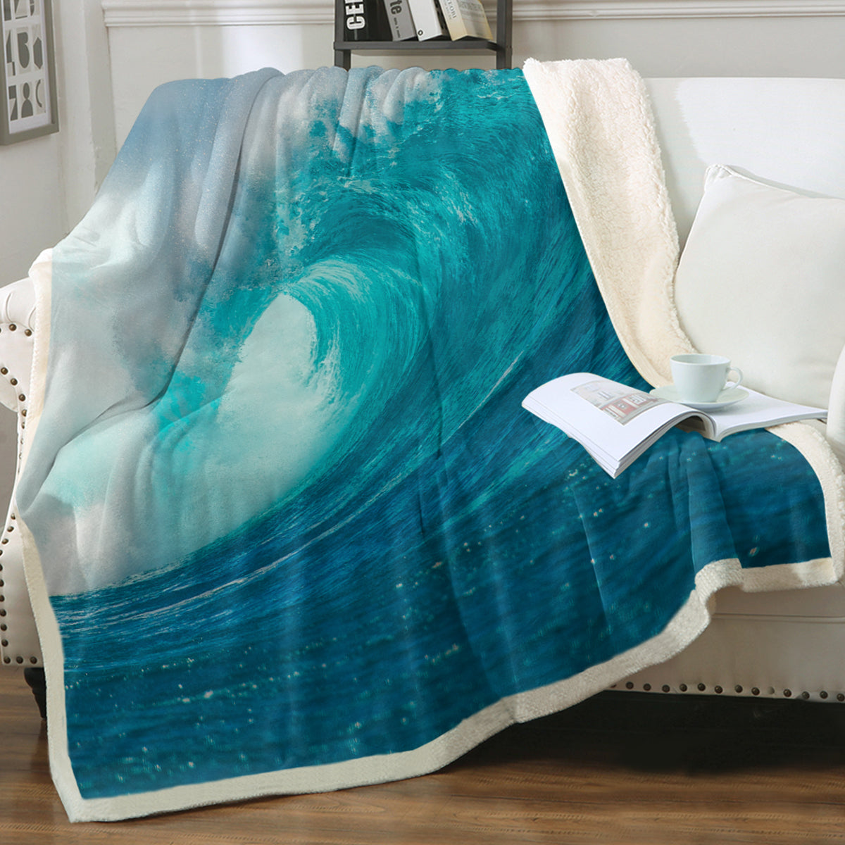 Ocean Wave Soft Sherpa Blanket