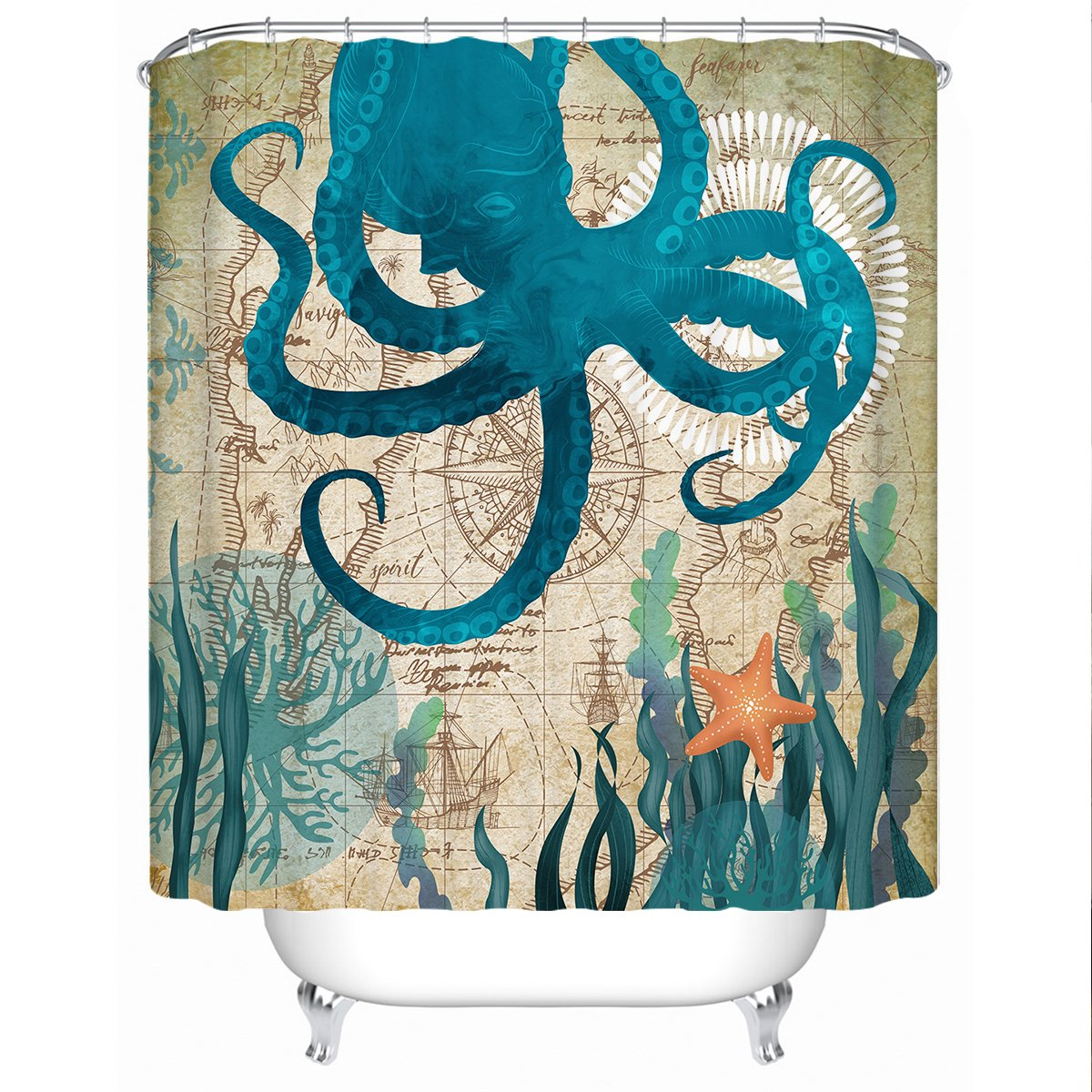 Octopus Love Shower Curtain-Coastal Passion
