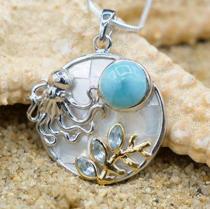 One of a Kind Necklace-Octopus Pendant Necklace with Larimar. Blue Topaz and Mother of Pearl Mosaic-Coastal Passion