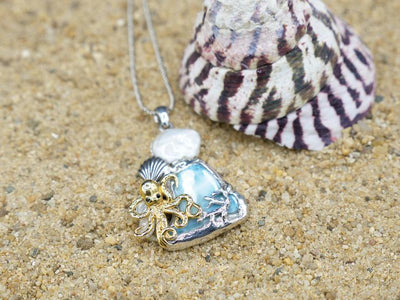 -Octopus with Shell Beach Pendant - Only One Piece Created-Coastal Passion