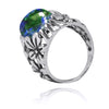 Ring-Oxidized Silver Floral Ring with Azurite malachite-Coastal Passion