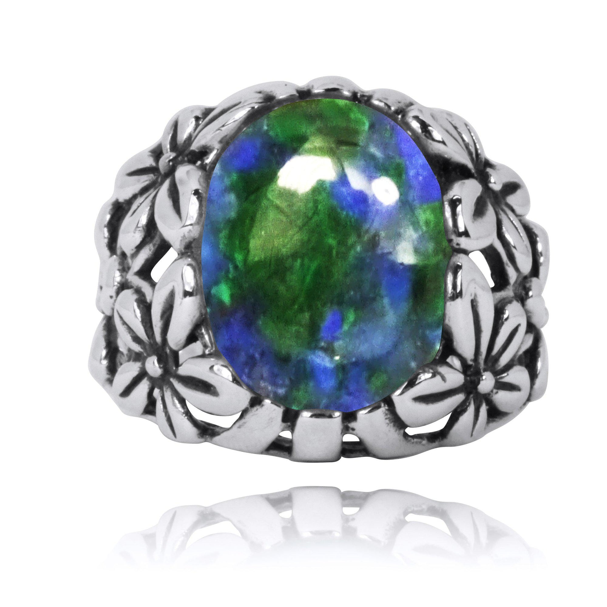 Oxidized Silver Floral Ring with Azurite Malachite