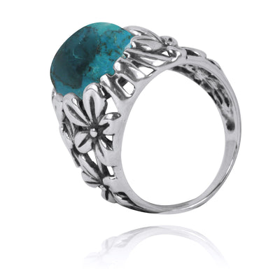 Ring-Oxidized Silver Floral Ring with Compressed Turquoise-Coastal Passion
