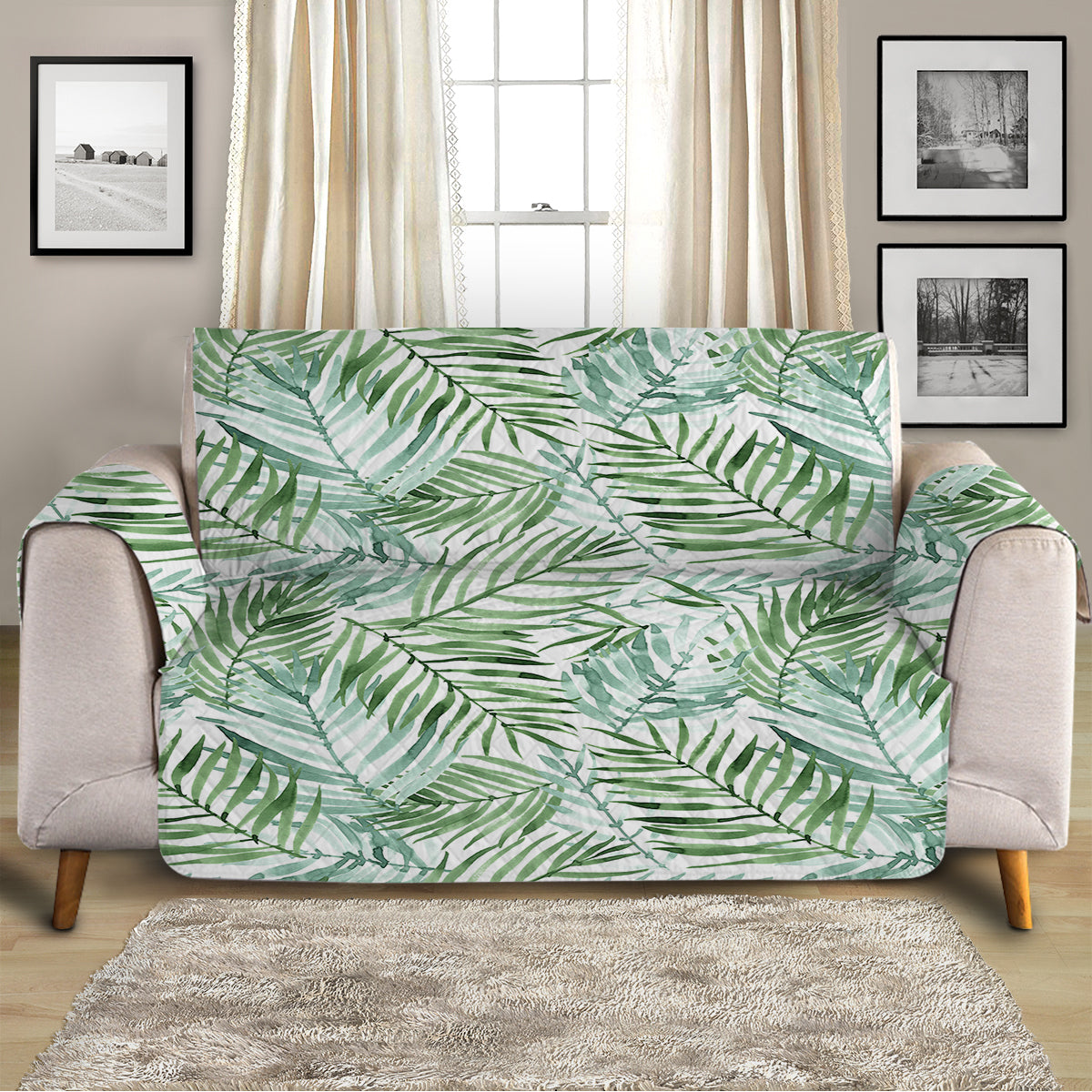 Tropical Palm Leaves Sofa Cover