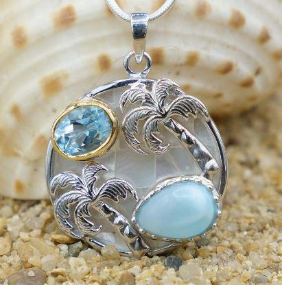 Palm Tree Pendant Necklace with Larimar, Swiss Blue Topaz and Mother of Pearl Mosaic