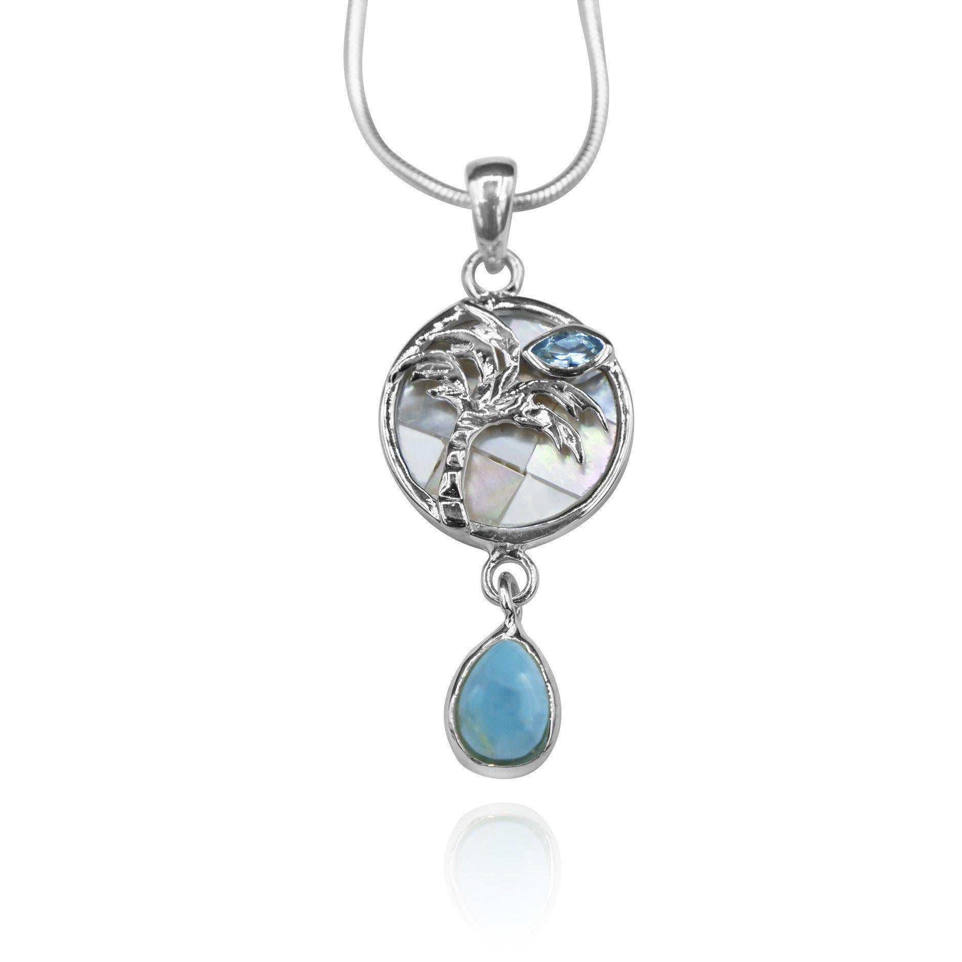 Pear shape larimar , swiss blue topaz , palm tree , mother of pearl pendant