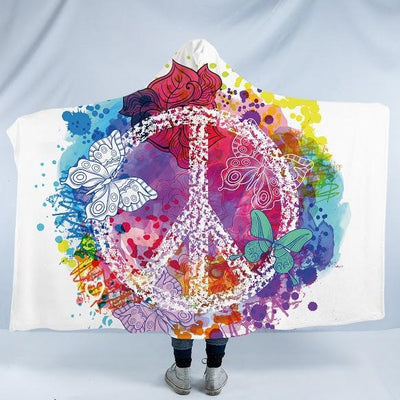 "Peace and Loaf Cozy Hooded Blanket-Fleece Hooded Blanket-Adults: Size 80"" x 60""-Coastal Passion"