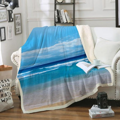 "Peace of the Beach Soft Sherpa Blanket-Blanket-Oversize: Size 80"" x 60""-Coastal Passion"