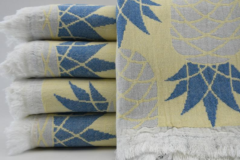 100% Cotton Turkish Towel-Pineapple Blue Yellow 100% Cotton Towel-Coastal Passion
