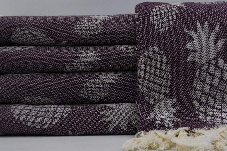 100% Cotton Turkish Towel-Pineapple Brown 100% Cotton Towel-Coastal Passion